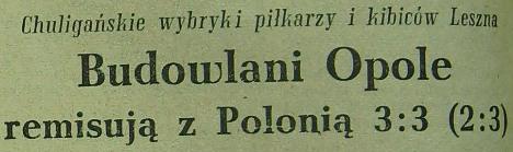 Polonia Leszno - Budowlani Opole 3:3 (Sezon 1955).