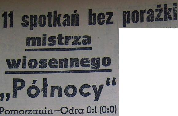 """Pomorzanin"" - ""Odra"" (1:0, Sezon 1959)"
