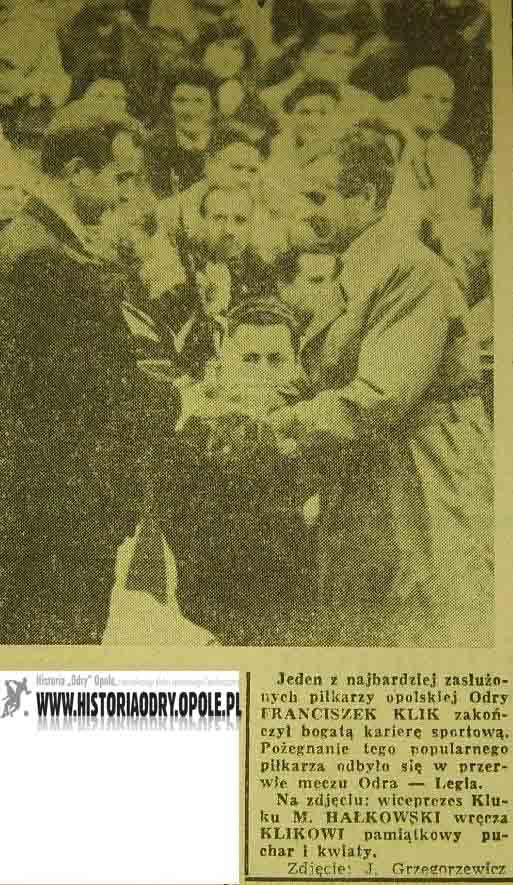 Uroczyste pożegnanie Franciszka Klika (1961).