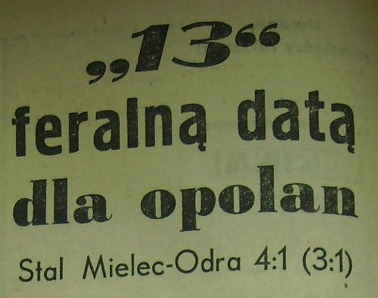 Ze spotkania Stal Mielec - Odra Opole (4:1, Sezon 1962).