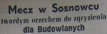 Stal Sosnowiec - Budowlani Opole 4:2 (1956).
