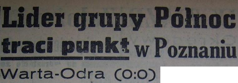 """Remis z """"Wartą"""" Poznań (0:0, 1959)"""