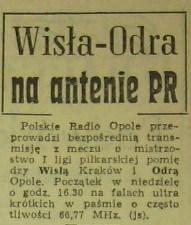 """Zapowiedź meczu ligowego (Wisła - Odra, 1968) - """"Trybuna Opolska"""", nr 229 z 21 VIII 1968"""