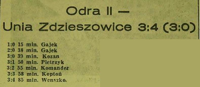 Odra Opole przegrywa 3:4 z Unią Zdzieszowice