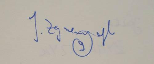 Autograf Józefa Żymańczyka