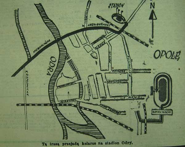 Mapka wyscigu z trasą prowadzącą na stadion Odry