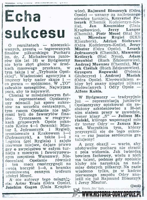 Puchar im. dr. Jerzego Michałowicza w rękach reprezentacji Opolszczyzny (08-14.08.1983 r.)