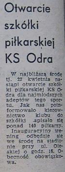 W Odrze powstała szkółka pilkarska!