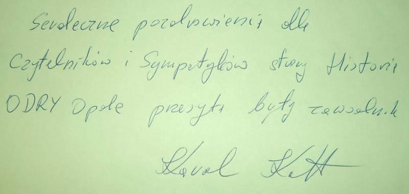 Pozdrowienia dla czytelników strony Historii Odry Opole od bohatera wywiadu