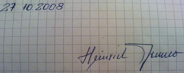 Autograf Henryka Prudło złożony po zakończeniu wywiadu