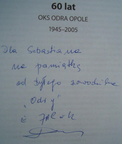 Autograf Engelberta Jarka otrzymany w 2005 roku