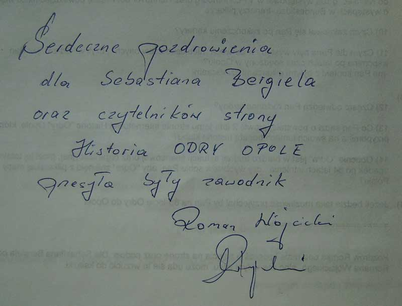 Pozdrowienia dla czytelników serwisu Historia Odry Opole od Romana Wójcickiego